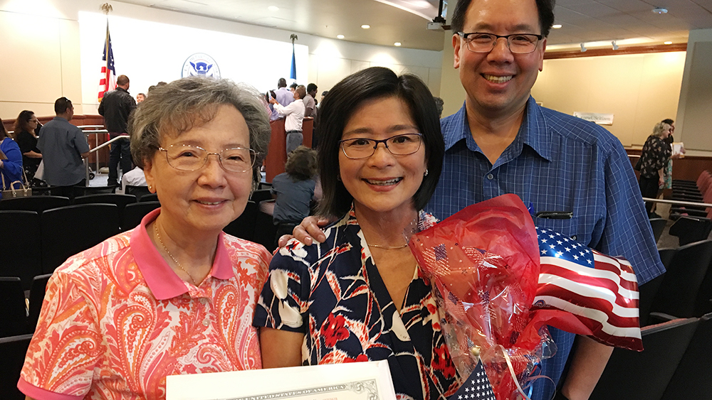 Seattle Channel producer Susan Han with husband Gorman Wong and mother-in-law Louise Wong at a naturalization ceremony in June.