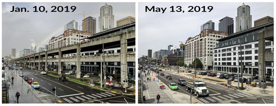 Before and after photo showing the progress of the Viaduct demolition between January 10 and May 13, 2019