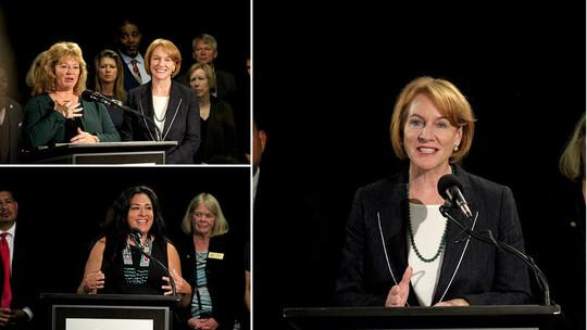 Three-photo collage of Mayor Durkan, Colleen Echohawk and Mayor Nancy Backus speaking at Regional Governance event.