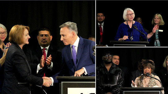 Three-photo collage of Mayor Durkan and Executive Constantine shaking hands, CM Sally Bagshaw and members of the lived experience coalition speaking