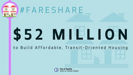 """Light blue social media graphic reading, """"$52 million to build affordable, transit oriented housing"""""""