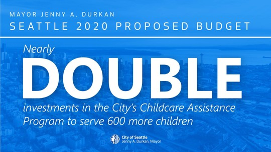 "Social media graphic reading ""nearly double investments in the City's Childcare Assistance Program to serve 600 more children"""