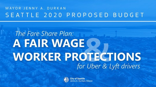 "Social media graphic reading: ""The Fare Share Plan: A fair wage and worker protections for Uber and Lyft Drivers"""