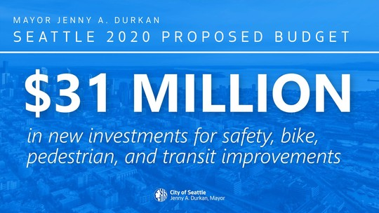 "Social media graphic reading: ""$31 Million in new investments for safety, bike, pedestrian, and transit improvements"""