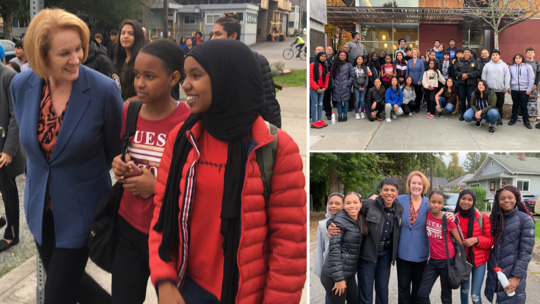 3-photo collage of Mayor Durkan visiting with South Park youth and posing for photos with groups of various sizes