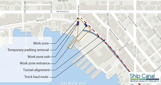 Map showing construction zone in Ballard