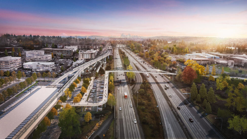 Rendering of the Northgate Bridge, showing a large white pedestrian bridge spanning I-5 in Northgate