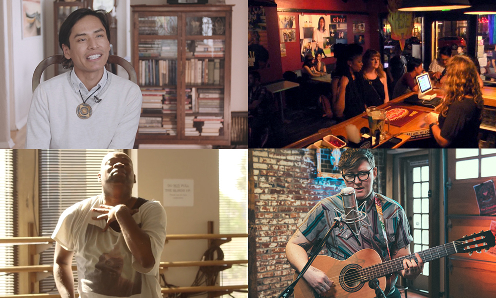 Images from four stories highlighting LGBTQ voices
