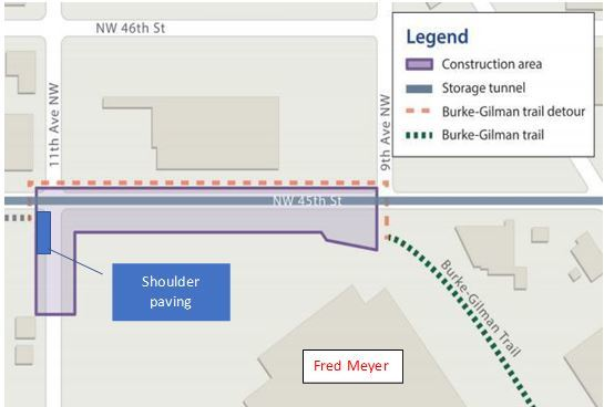 Map showing our East Ballard construction site limits on NW 45th St and 11th Ave NW