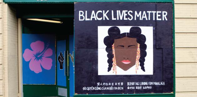 black lives matter mural on storefront
