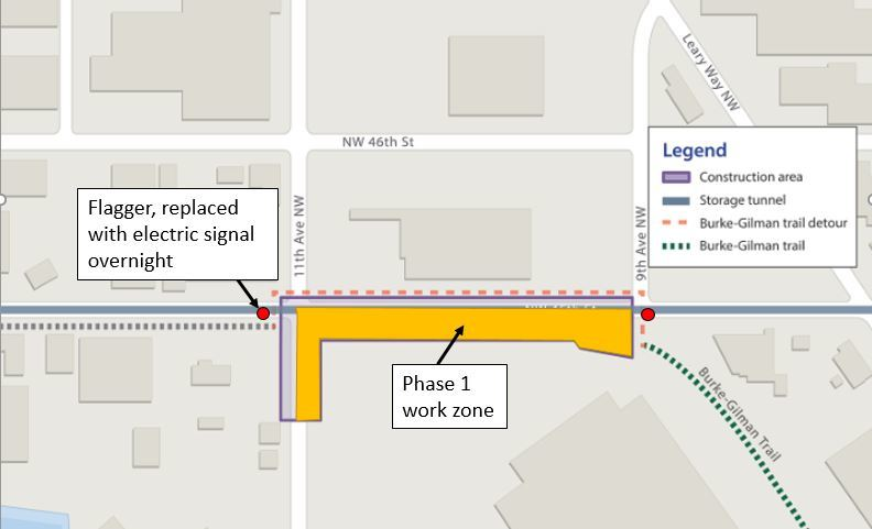 Map of East Ballard showing first work zone and traffic control