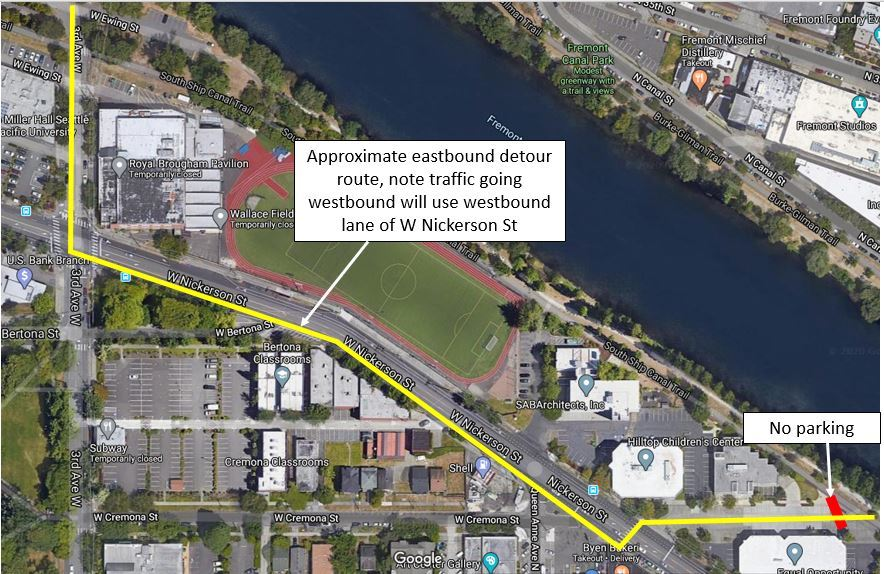 Map showing Ship Canal Trail detour onto W Cremona St