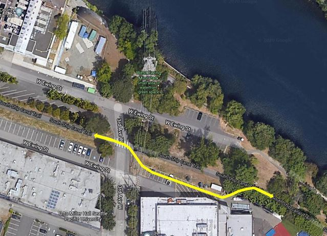 Diagram showing Ship Canal Trail detour in Queen Anne