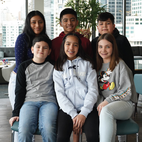 six young people, smiling