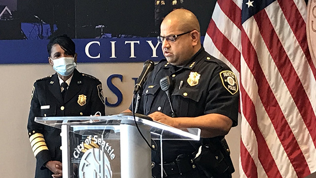 Seattle Police Chief Carmen Best and Interim Chief Adrian Diaz