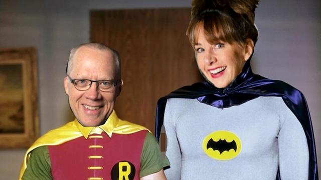 Joe and Nancy Guppy as super heroes