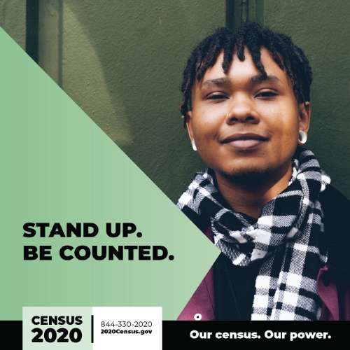 """woman, smiling with text that says """"Stand up. Be counted."""""""