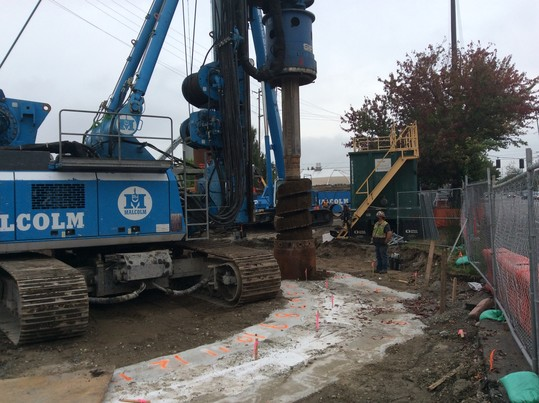 Crews excavating material for the second pile in Fremont.