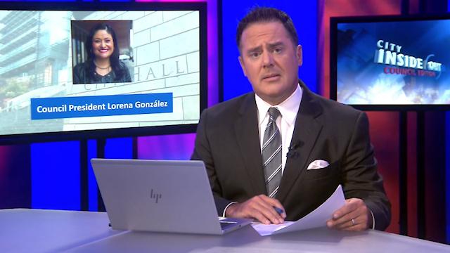 Host Brian Callanan and Council President Lorena Gonzalez