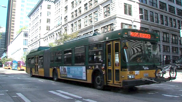 King County Metro bus in downtown Seattle