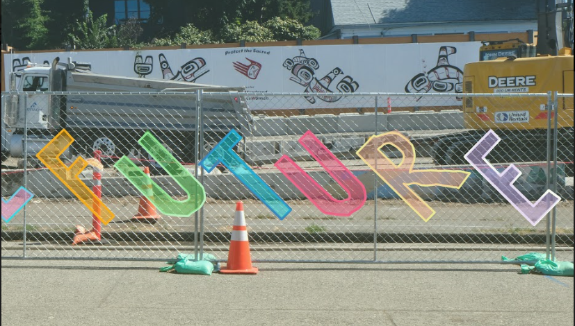 A sketch of planned temporary artwork along the construction fence. Future is spelled out in bright colors.