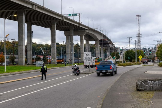 The East entrance of the Low Bridge with Seattle Police Department enforcement..