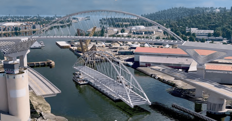 This rendering shows the rapid replace option proposed by HNTB. Credit: HNTB. The span is shown in the Duwamish waterway.