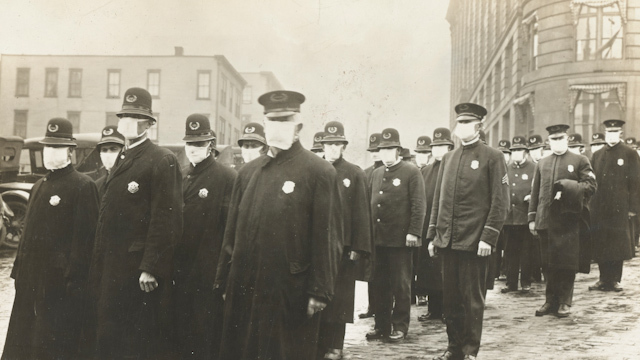 A photograph from Seattle during the 1918 flu pandemic