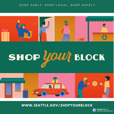 Illustration promoting Shop Your Block to support local businesses