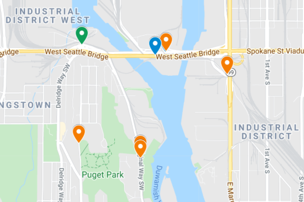 Image of the Reconnect West Seattle project dashboard. The dashboard looks like a Google map with colored pins in specific locations on the map.