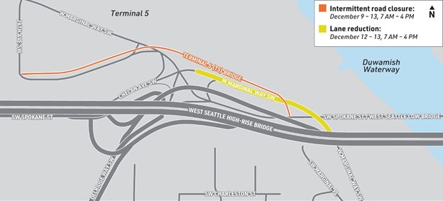 This map shows the temporary, intermittent road closure on the Terminal 5 Bridge and a temporary lane reduction on West Marginal Way SW near the Terminal 5 Bridge. An orange line on Terminal 5 Bridge shows it will be closed December 9-13 from 7am to 4pm. A yellow line on West Marginal Way SW shows a lane reduction December 12-13 from 7am to 4pm.