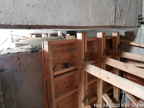 Concrete blocks that will function as joints to hold the new lateral bearings in place.