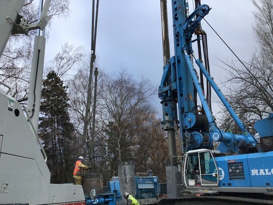Photo showing secant pile wall construction in Queen Anne