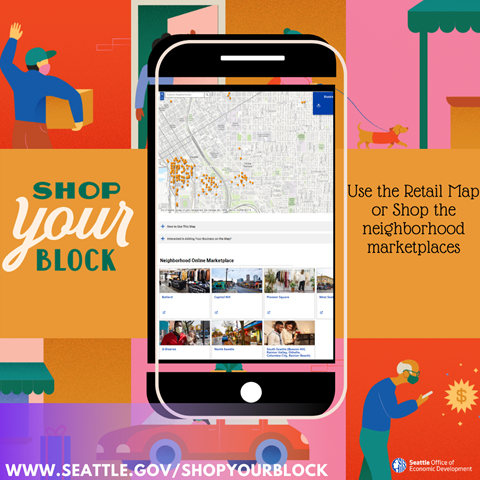 Shop Your Block Graphic with Mobile Map