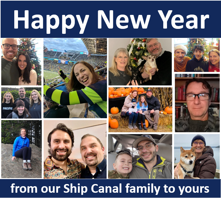 """Photo of Ship Canal staff and their families with a message that says """"Happy New Year from our Ship Canal family to yours"""""""