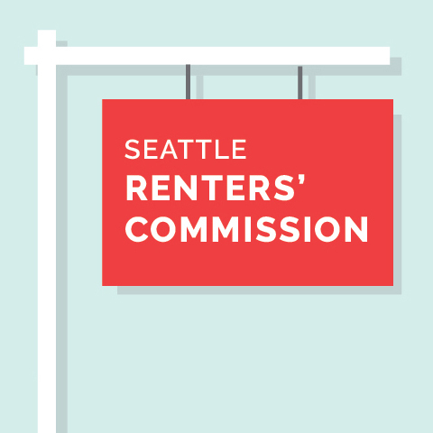 """A graphic of a red real estate sign that says """"Seattle Renters' Commission"""""""
