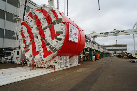 Photo showing fully constructed tunnel boring machine in Germany.