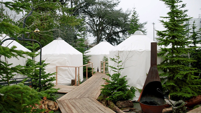 Yurts for outdoor dining at Canlis restaurant