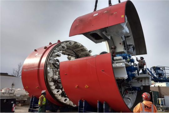 The tunnel boring machine getting assembled