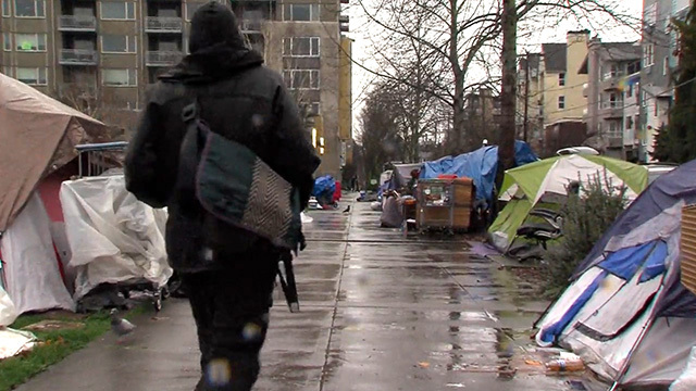 Homeless encampment in Ballard