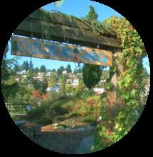"Garden entrance covered in vines with sign reading ""Children's Garden"""