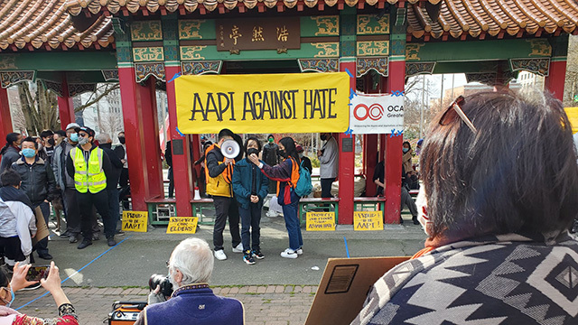AAPI rally against hate.