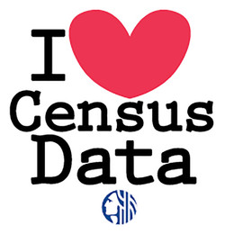 Text and graphic images that says I Love Census Data with a heart used for the word love.
