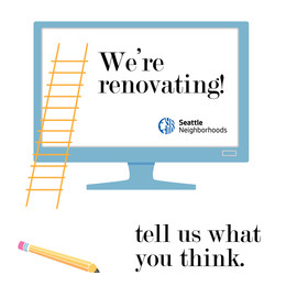 """Graphic illustration of a ladder, pencil, and computer monitor with text that says """"We're Renovating. Tell us what you think"""""""