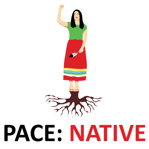 """A graphic illustration of a Native American standing with a right fist raised and roots coming out of their feet. Text says """"PACE: NATIVE."""""""