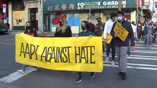 A march against anti-Asian hate crimes