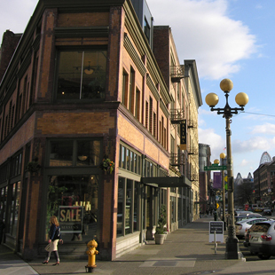 A view down a street in Seattle's Pioneer Square neighborhood