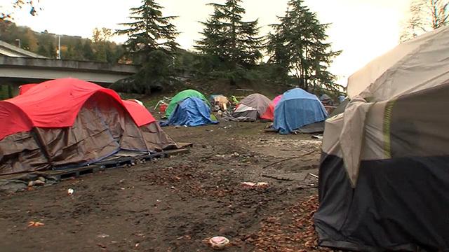 A homeless encampment in Seattle