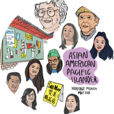 """An assortment of illustrations and text """"Asian American Pacific Islander Heritage Month"""""""