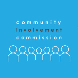 """A light blue background with drawing of bubble people and text that says """"Community Involvement Commission"""""""
